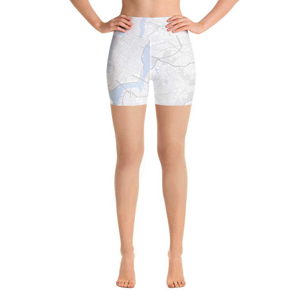 New York White Yoga Shorts