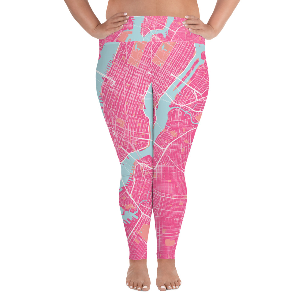 New York Pink Plus Size Yoga Leggings