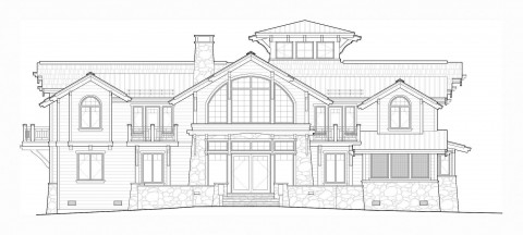 Priest Lake waterfront home elevation in AutoCAD
