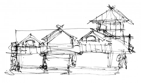 Waterfront home architect sketch on Priest Lake