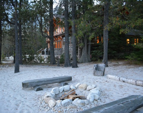 Waterfront Home Firepit on Priest Lake designed by Hendricks Architecture