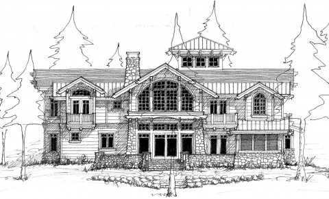 Waterfront home lake elevation sketch designed by Hendricks Architecture