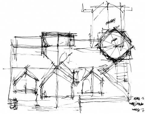 Rough sketch roof plan design of the waterfront home