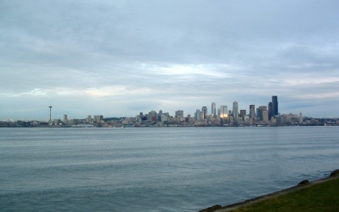 Seattle architecture skyline in winter. Not much sun.