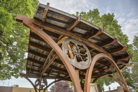 Steel bandshell Hendricks architects Sandpoint Idaho