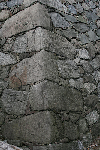 Stacked stone foundation