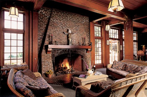 Lake Quinault Lodge Masonry Fireplace