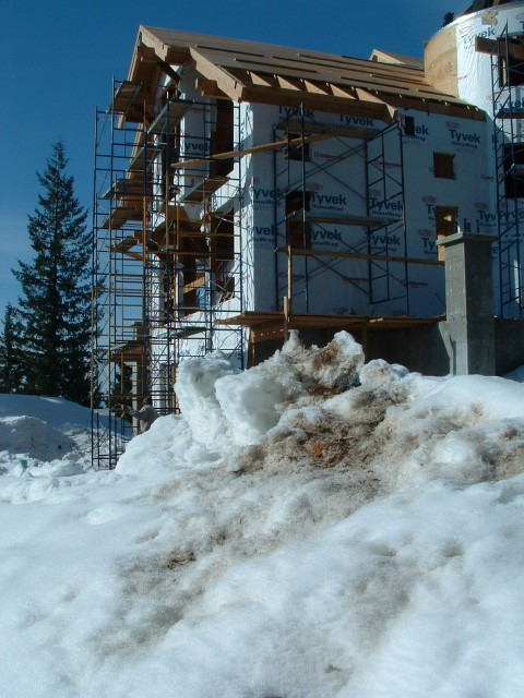 A home being built through the winter.