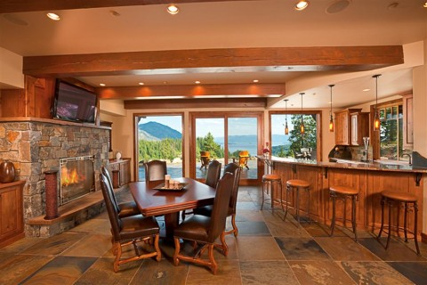 The bar is one of many rooms with great views.