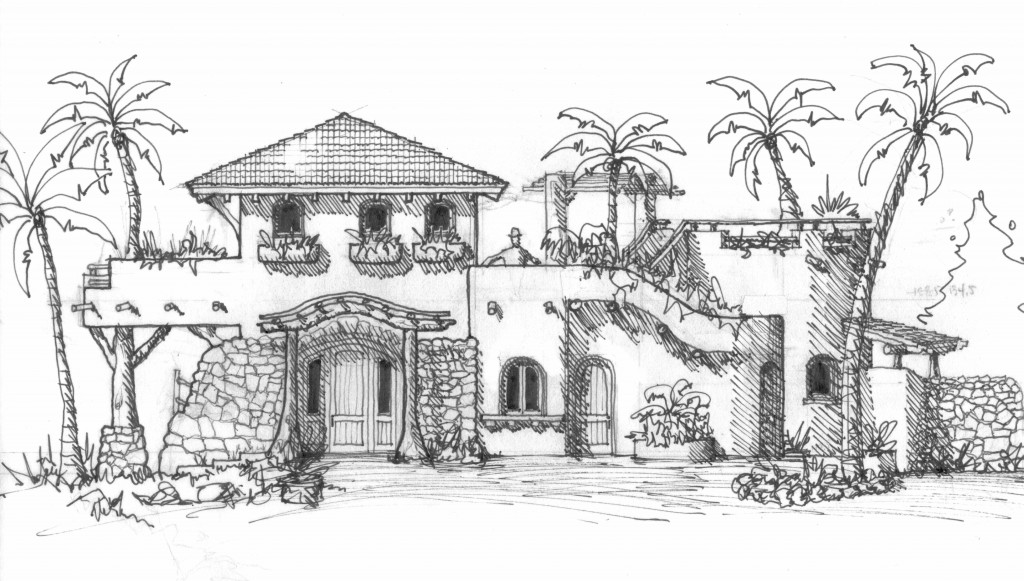 Mexico Beach House - Courtyard Elevation