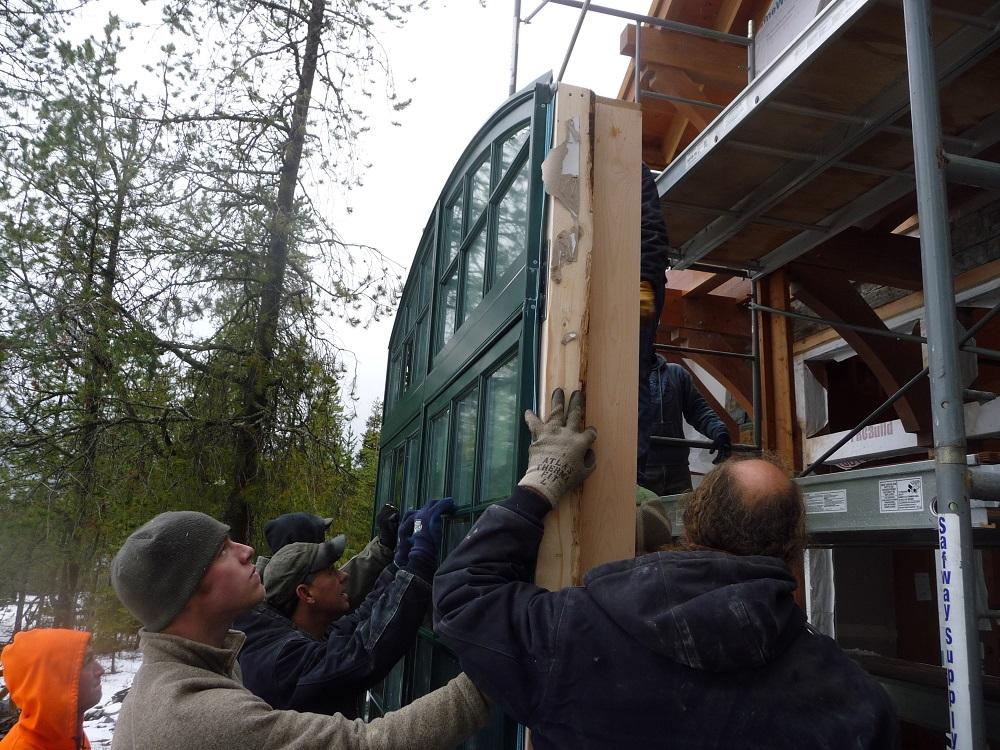 Architecture big window installation