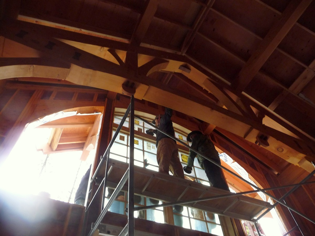Timber frame window installation from the interior