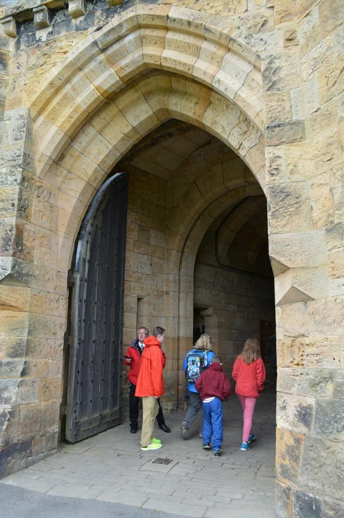 Old world entrance doors, gates of Alnwick Castle, of Harry Potter fame.