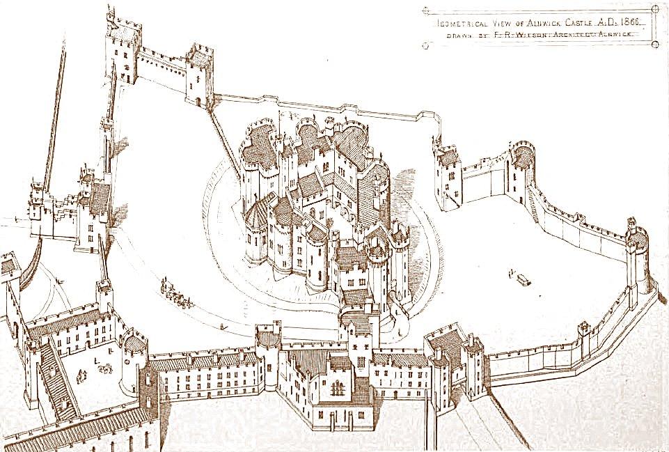 Alnwick Castle Isometric Map