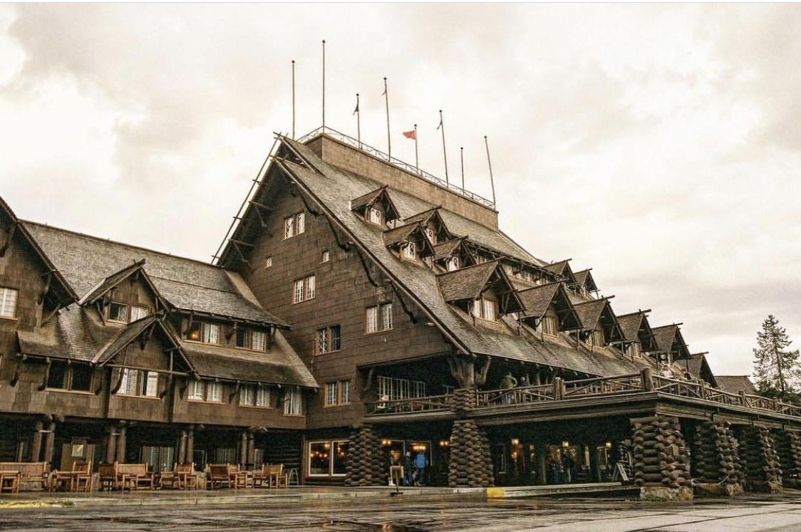 Exterior of Yellowstone National Park's Old Faithful Inn