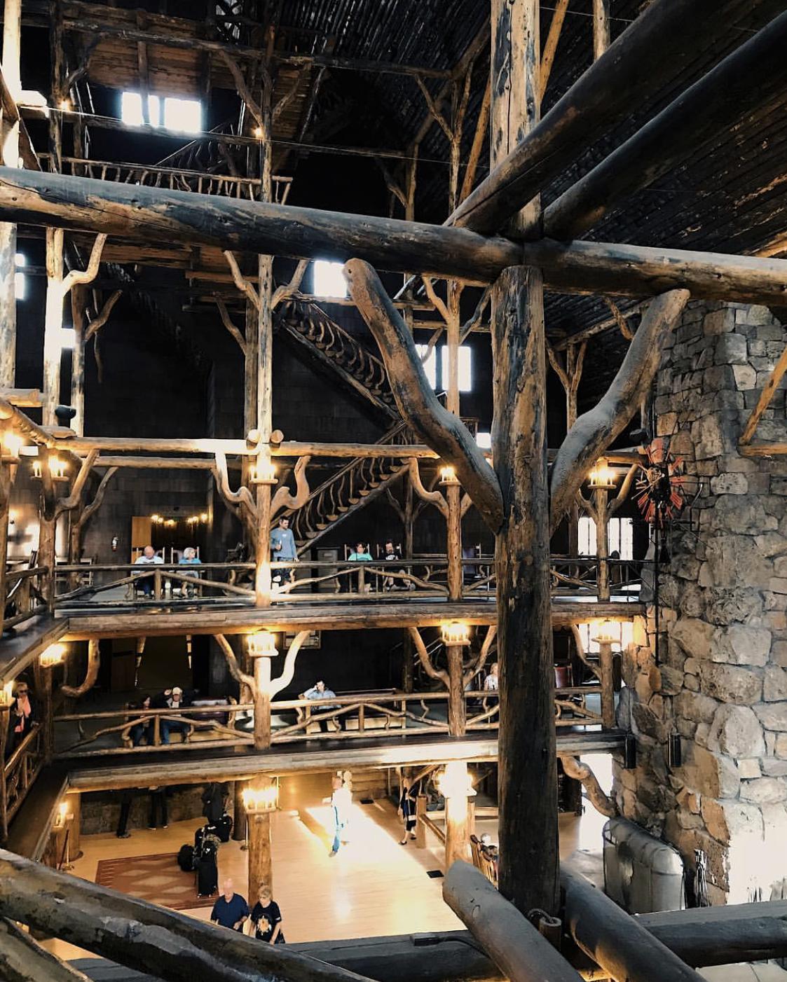 Interior Lobby of Yellowstone's Old Faithful Inn