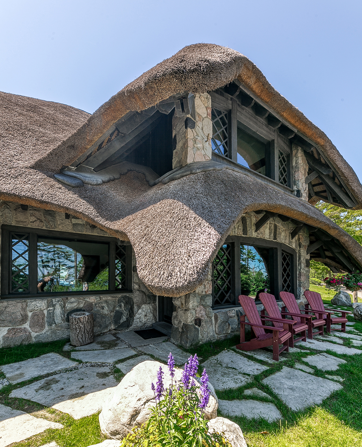 Mushroom House thatched roof in Charlevoix Michigan
