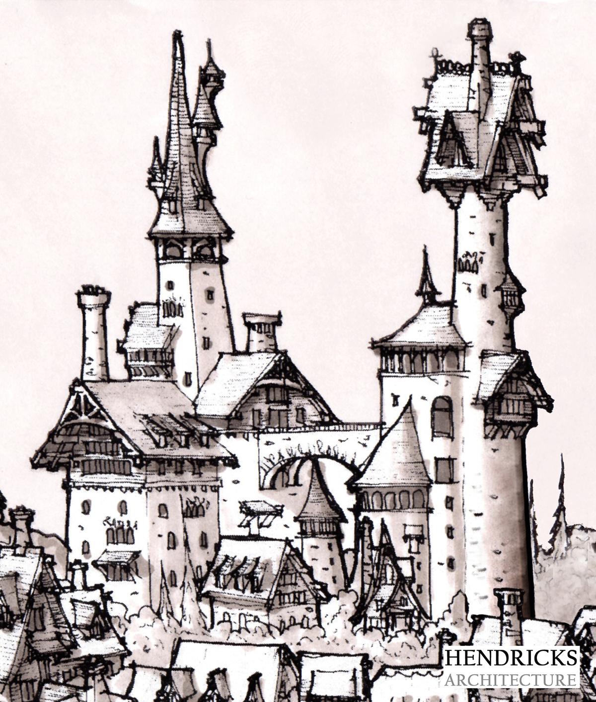 A creative mountain village castle