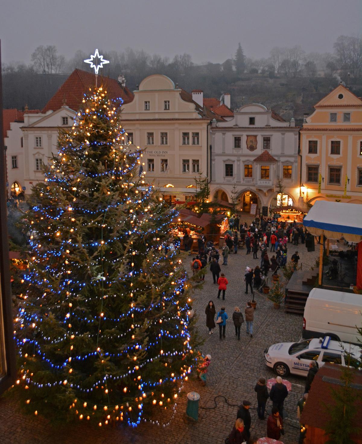 Cesky Krumlov Christmas Market in an Old World Mountain Village