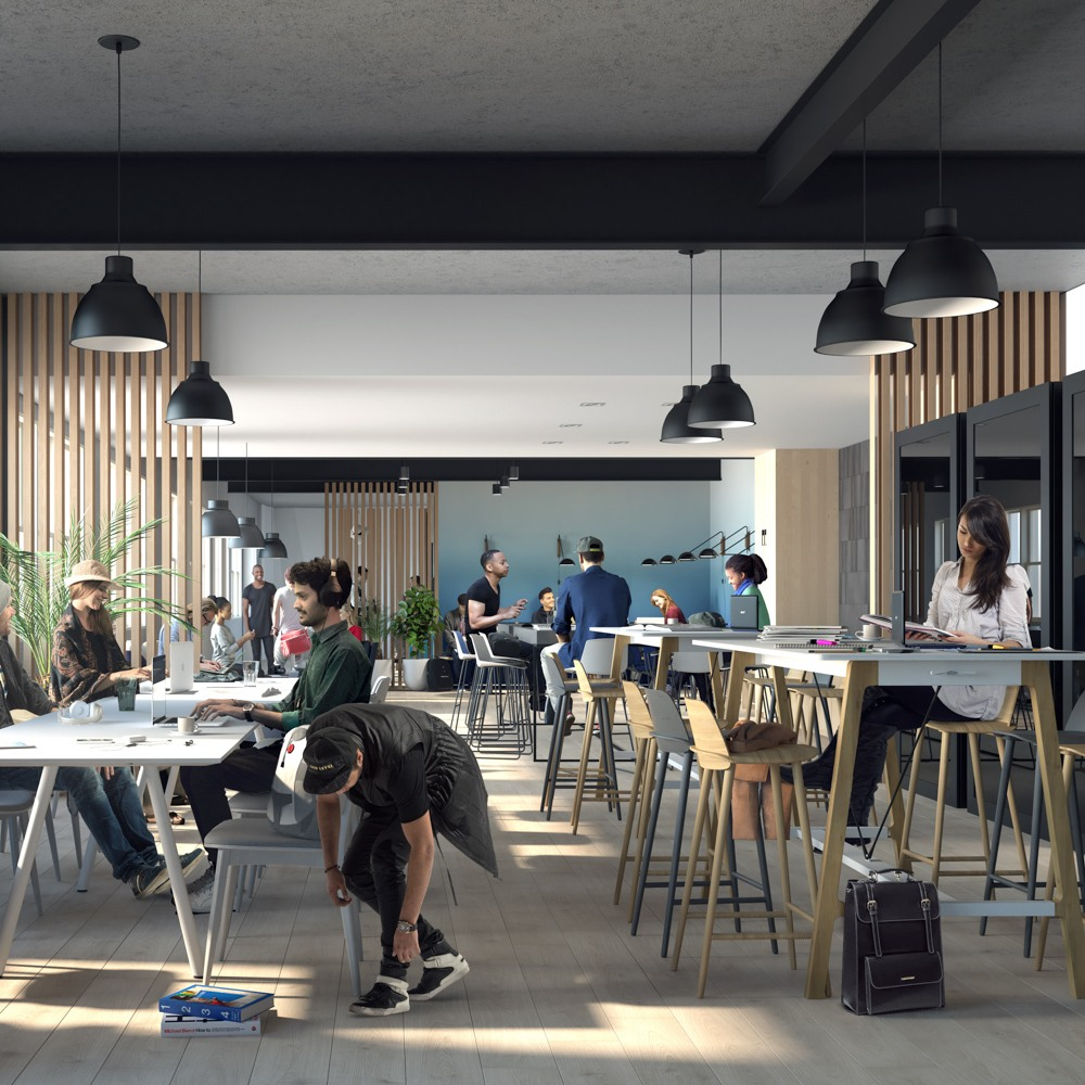 X Club coworking area with people working at community desks