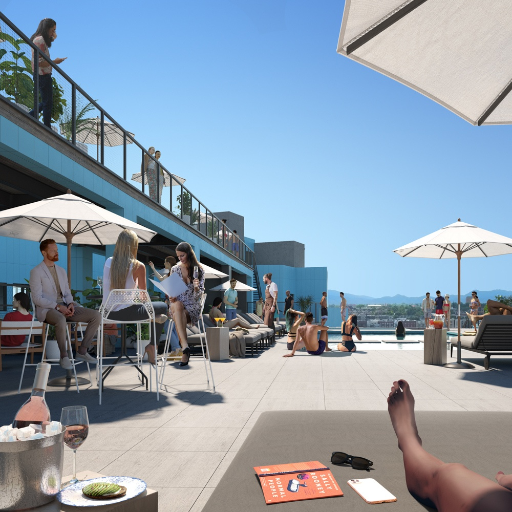 X Club roofdeck with residents lounging poolside