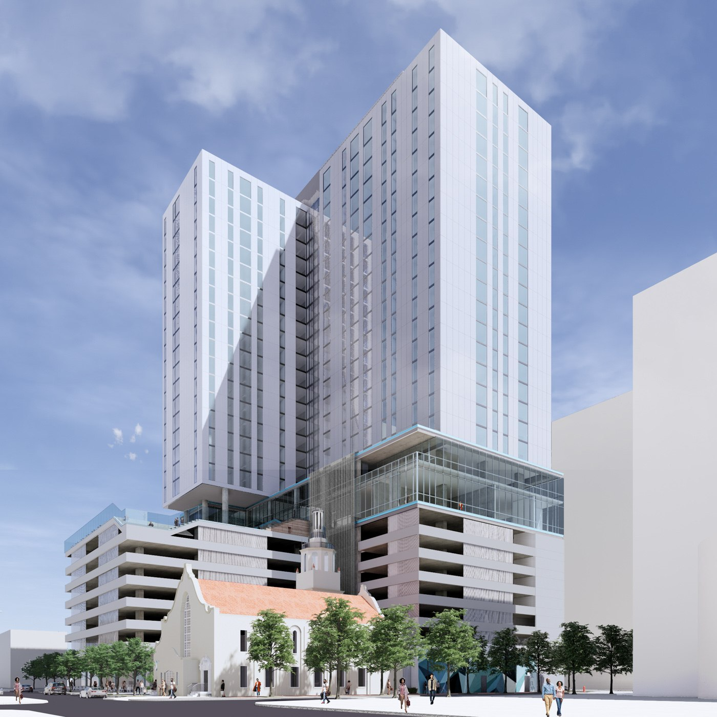 Exterior view of X Tampa, a luxury high rise apartment development in downtown Tampa