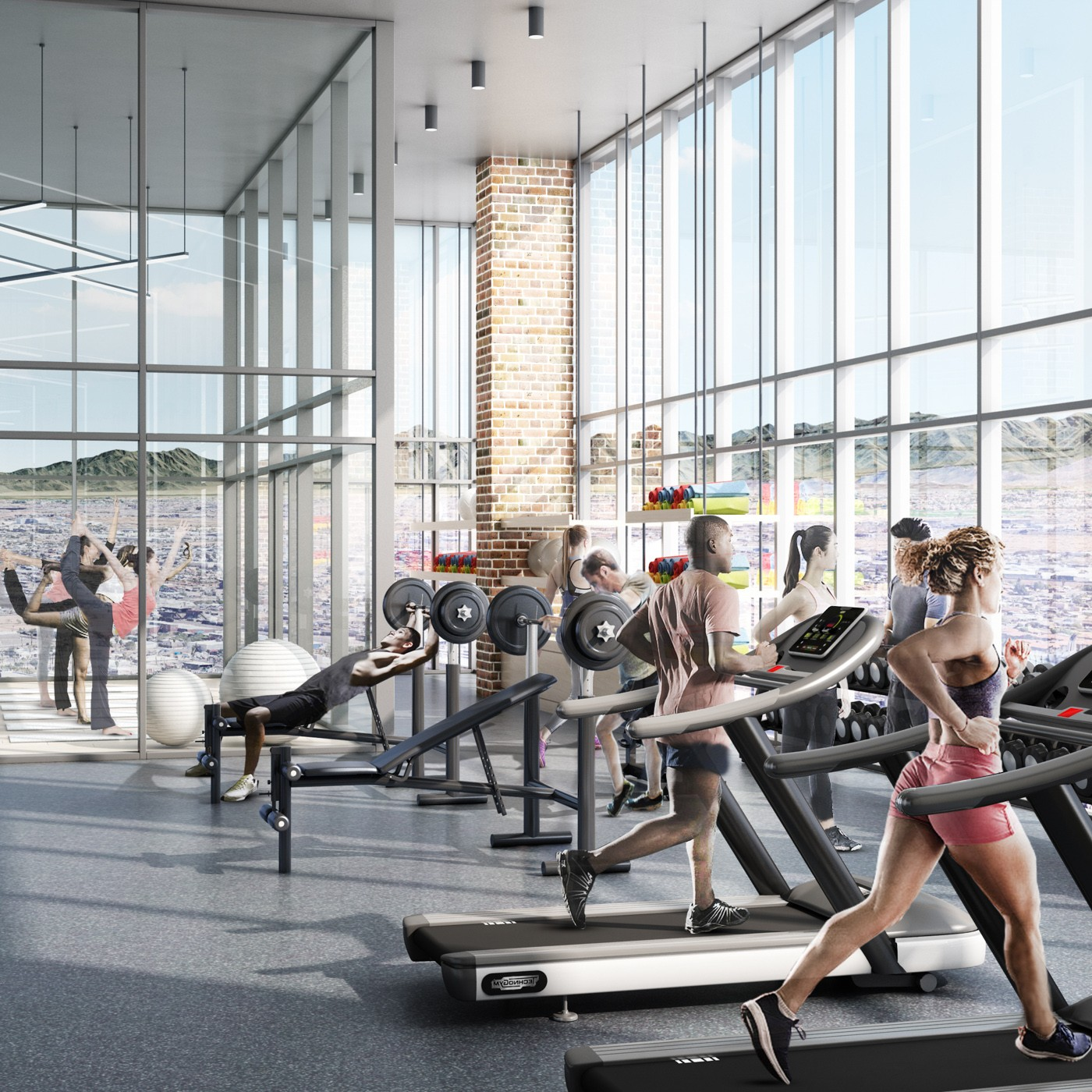 Interior of X Phoenix gym with residents on treadmills