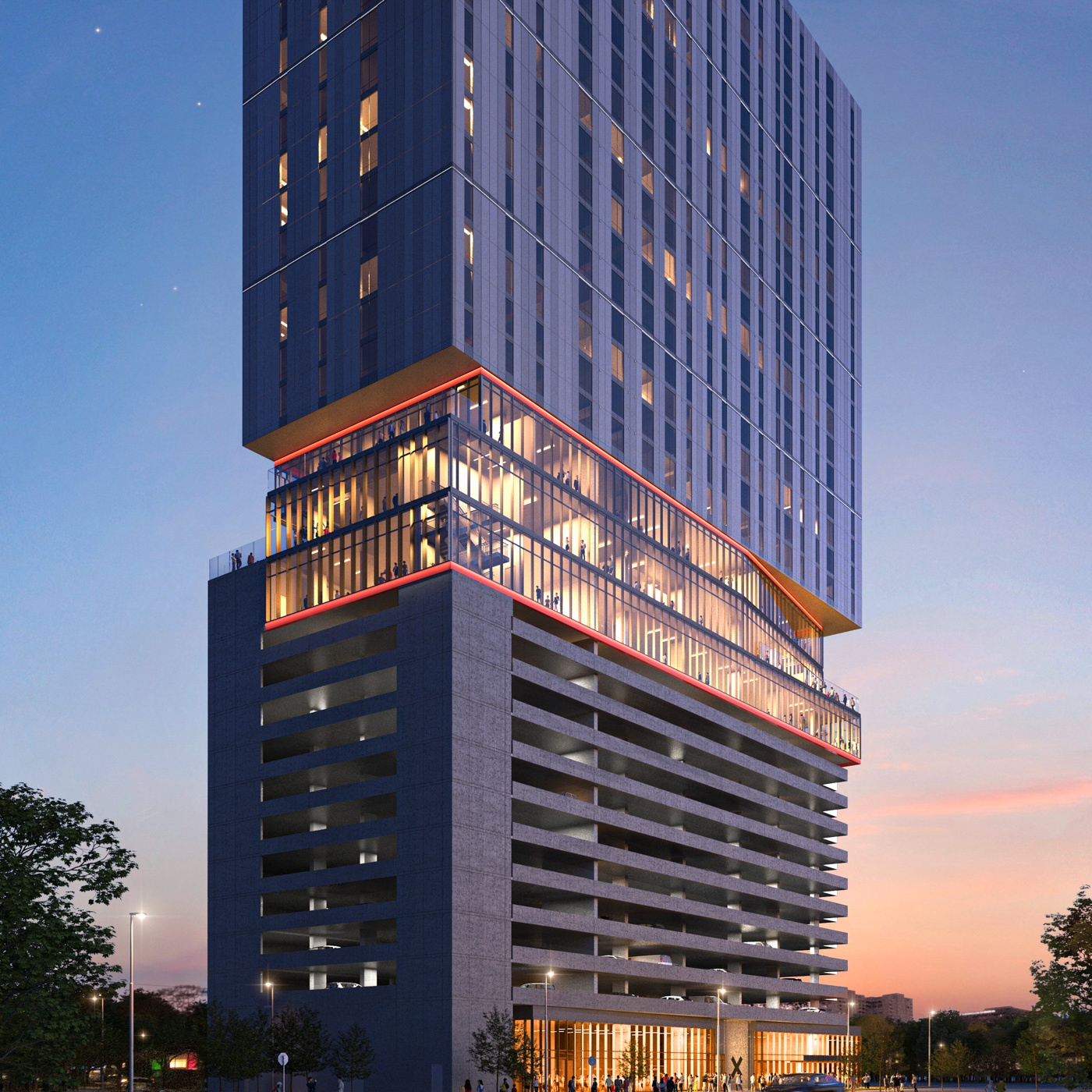 Exterior view of X Houston, a luxury high rise development in the Museum District