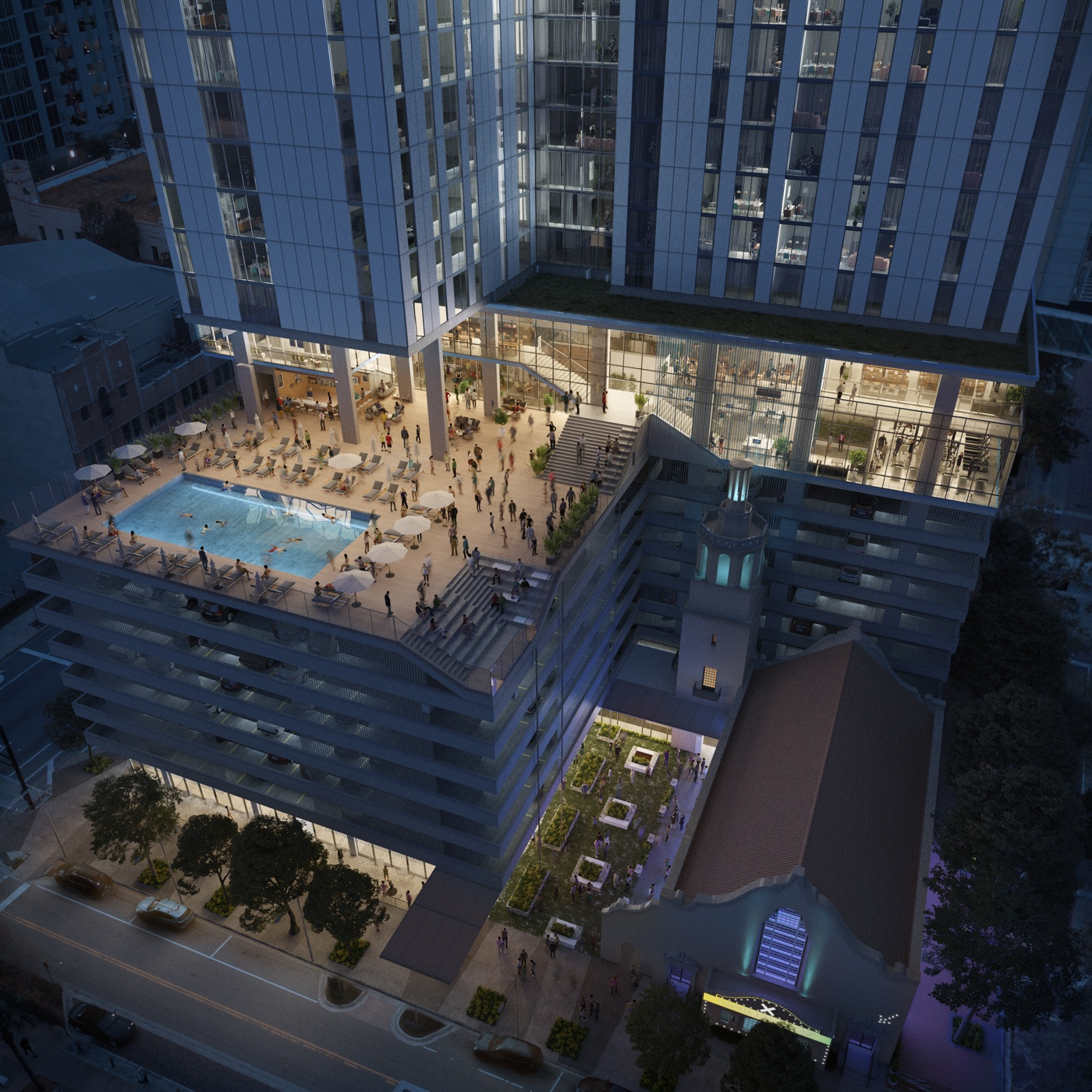 Aerial view of the X Tampa amenity deck, with residents lounging poolside