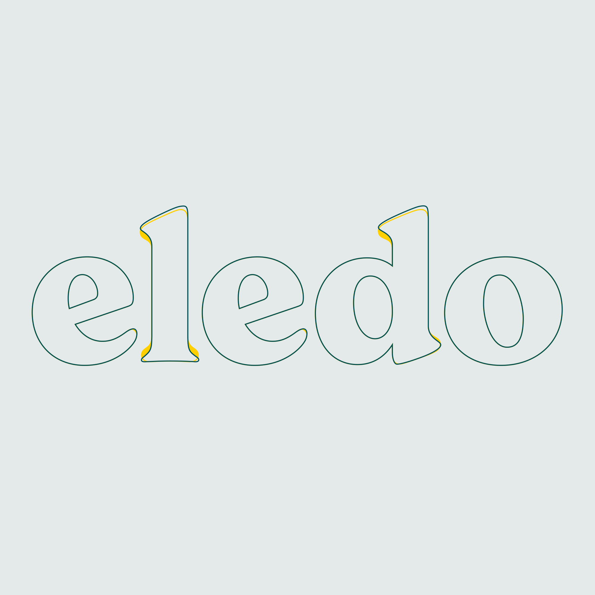 The Eledo logo in outline, showing the alterations made to the type face to create the logo.
