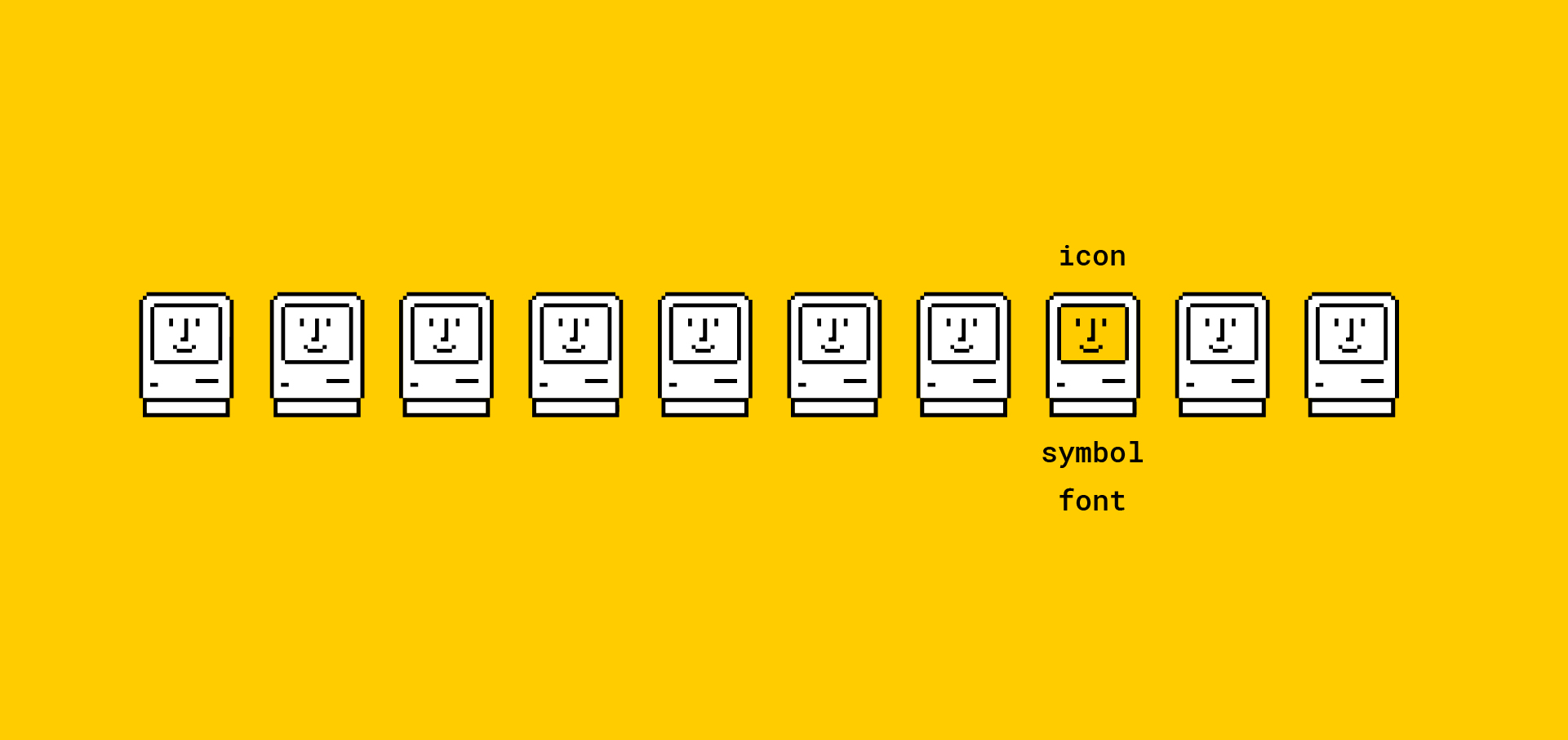 Wingdings, Dingbats and icons! Looking at some of the early digital icons plus some of our own recent designs.