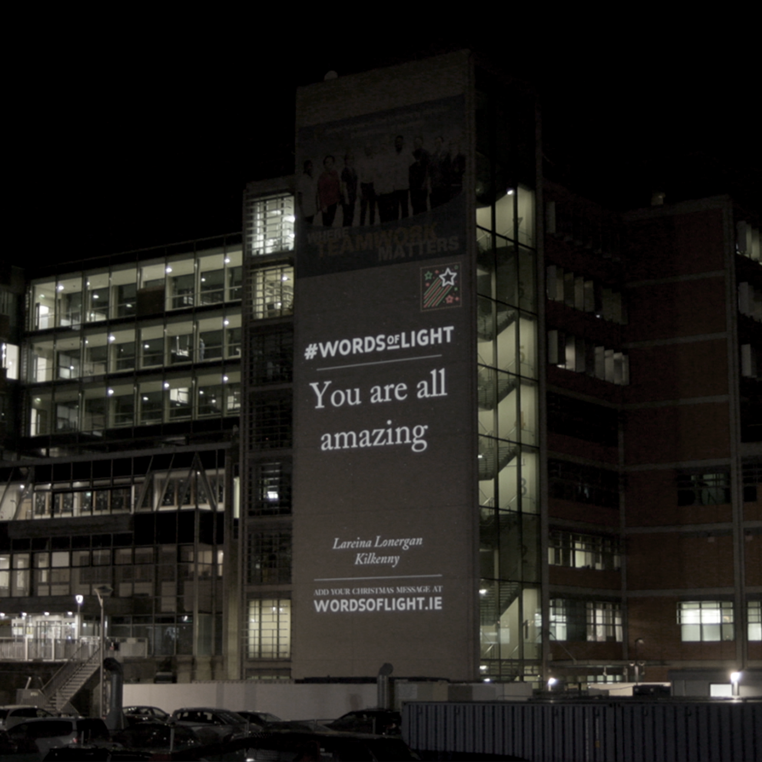 Words of Light projection at The Mater