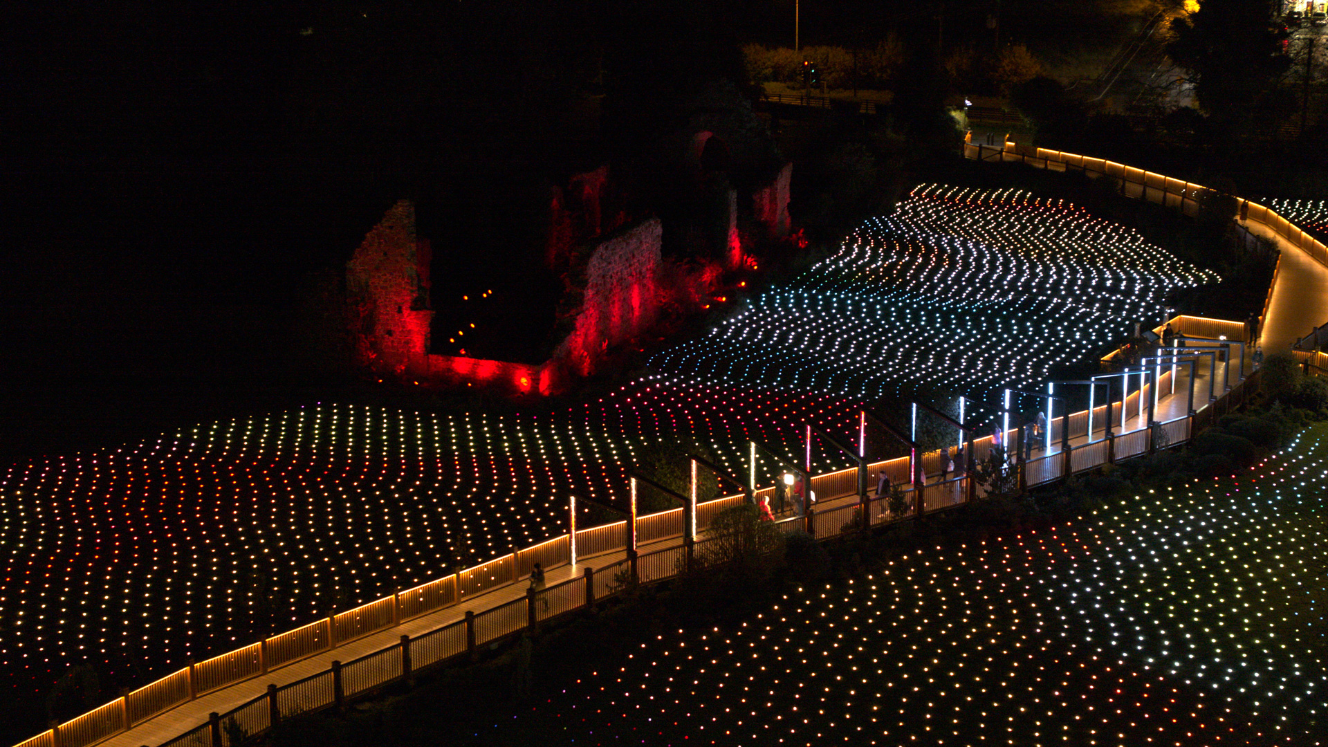 Drone shot of Field of Lights