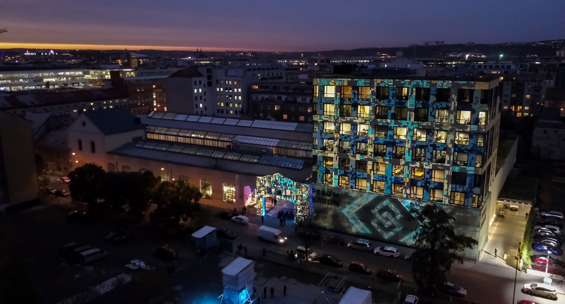 A drone shot of the outside of the building during the Blockchains LLC launch