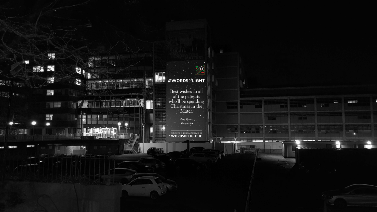 A message lighting up The Mater during Words Of Light