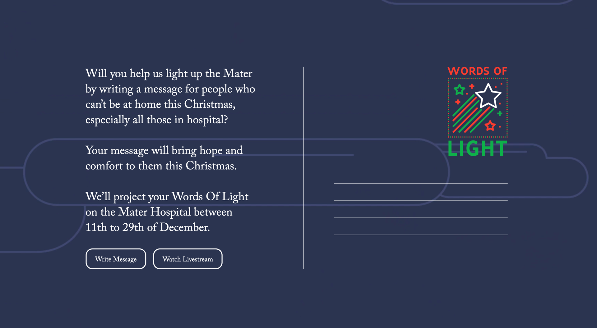 The design of the website for Words Of Light