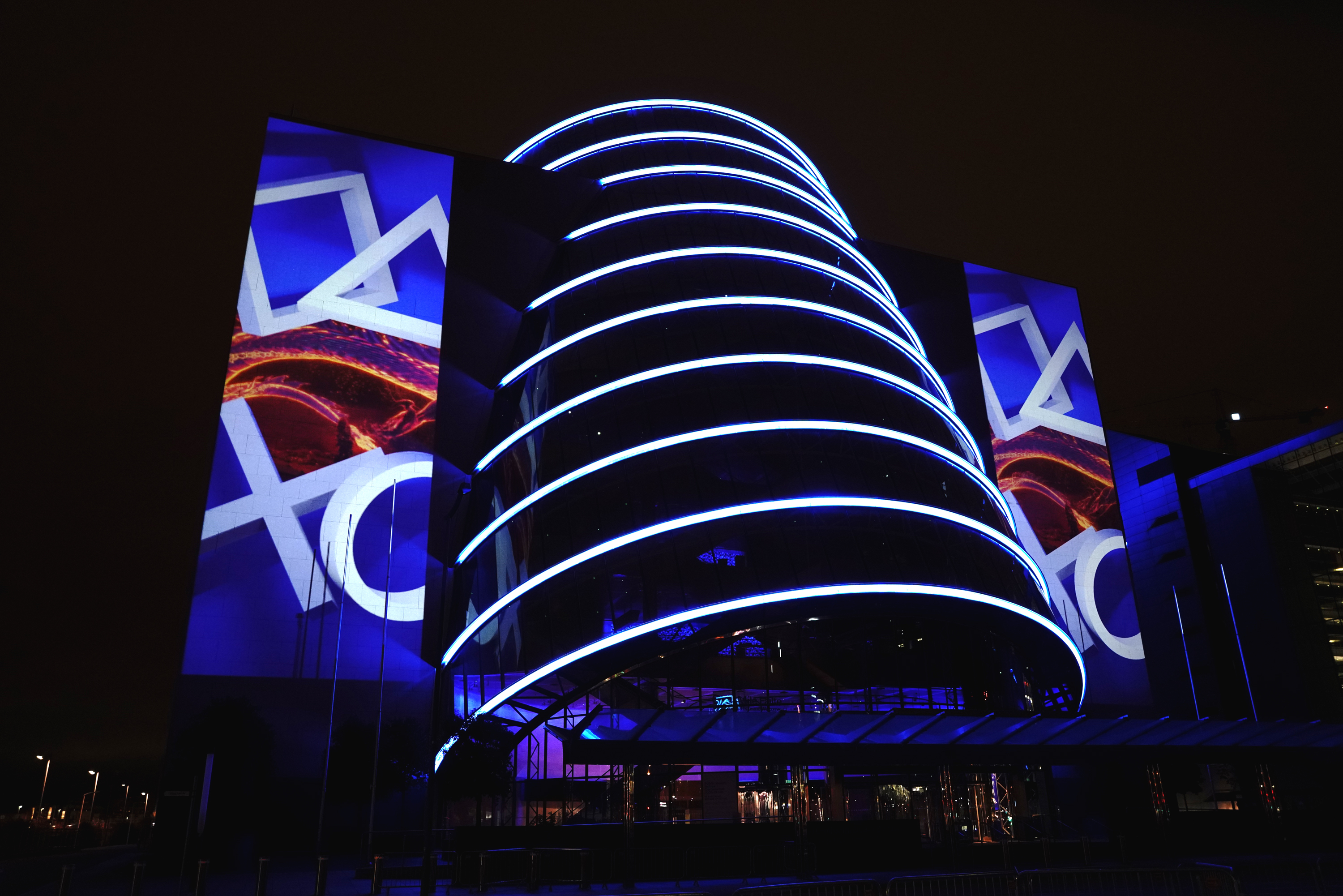 The projection mapped Convention Centre being during the PS5 Launch