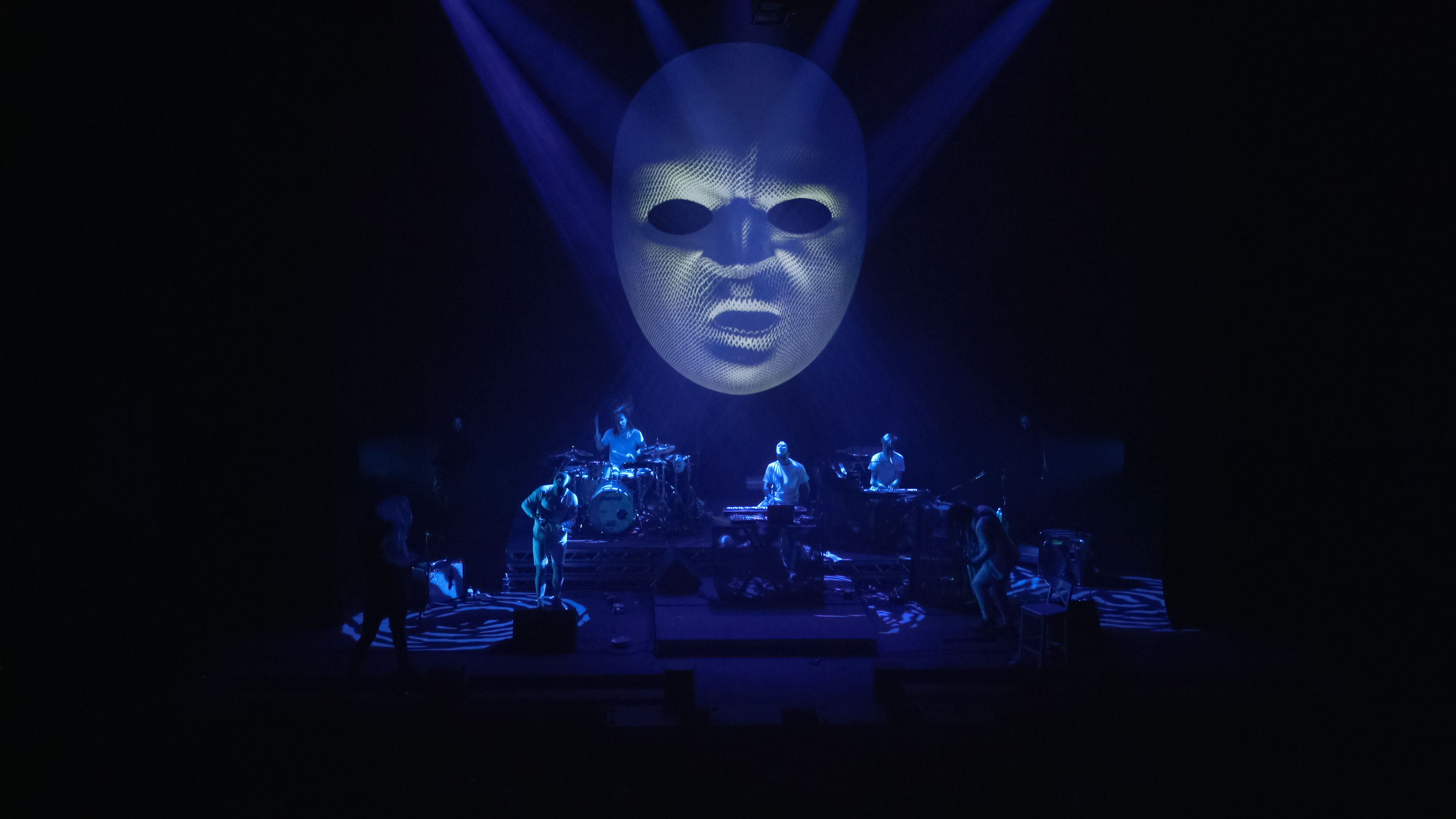 The projection mapped MeltyBrains? mask during their performance