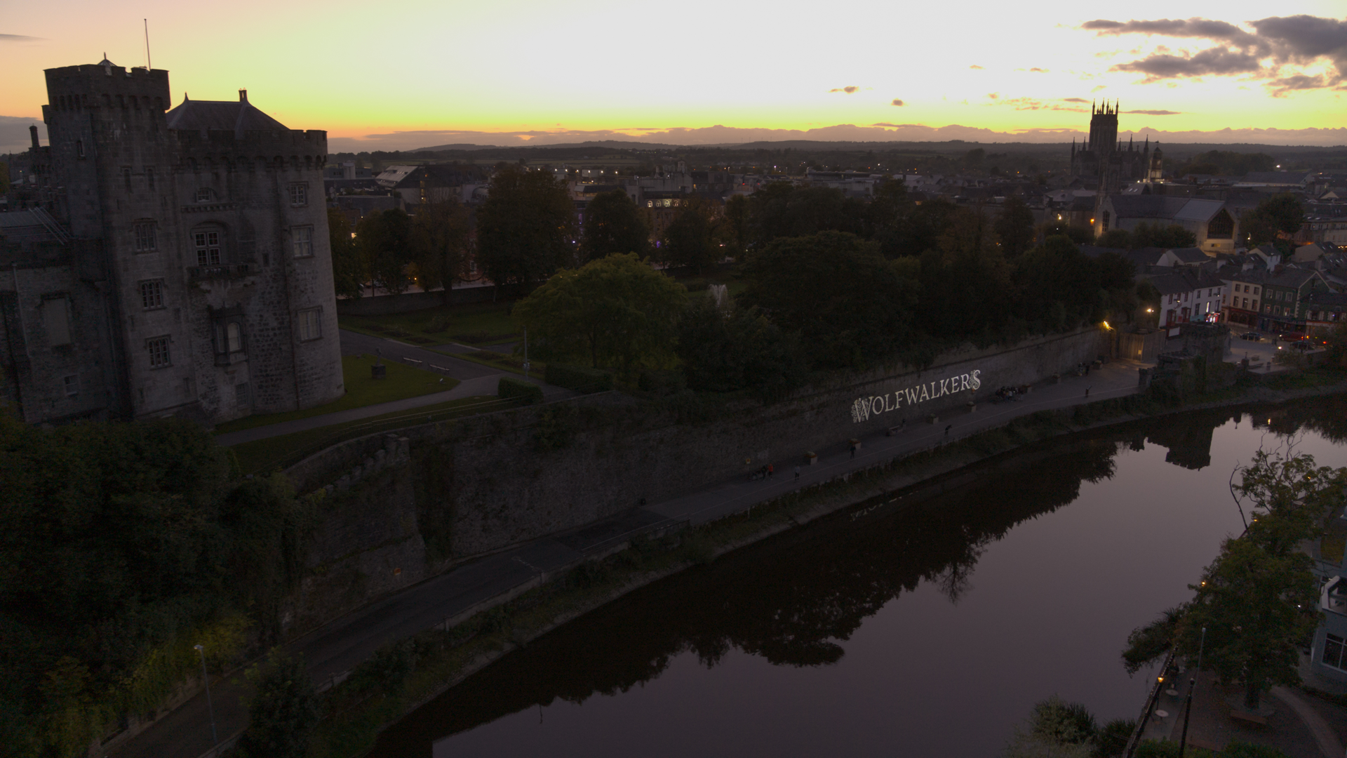 An aerial view of Kilkenny Castle during the projection mapping