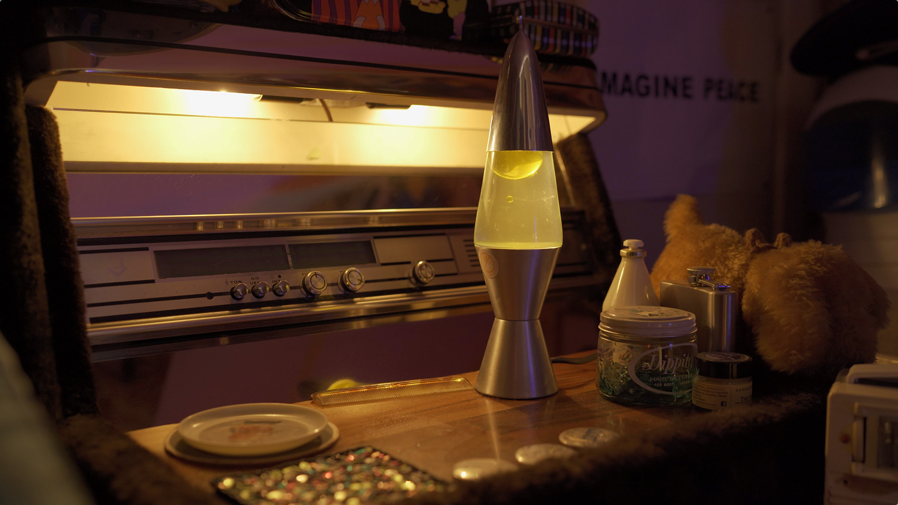Close up of lava lamp in house