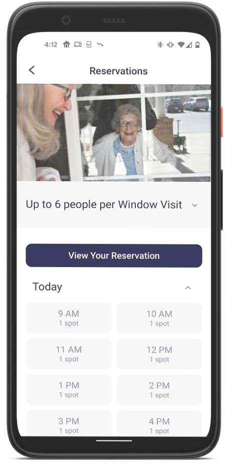 Mobile device showing reservations feature