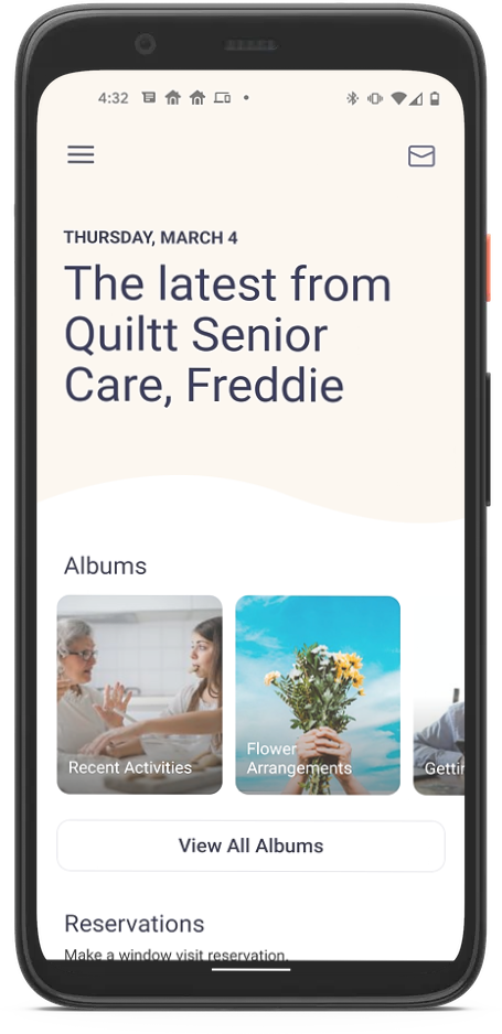 Mobile device showing photo albums feature