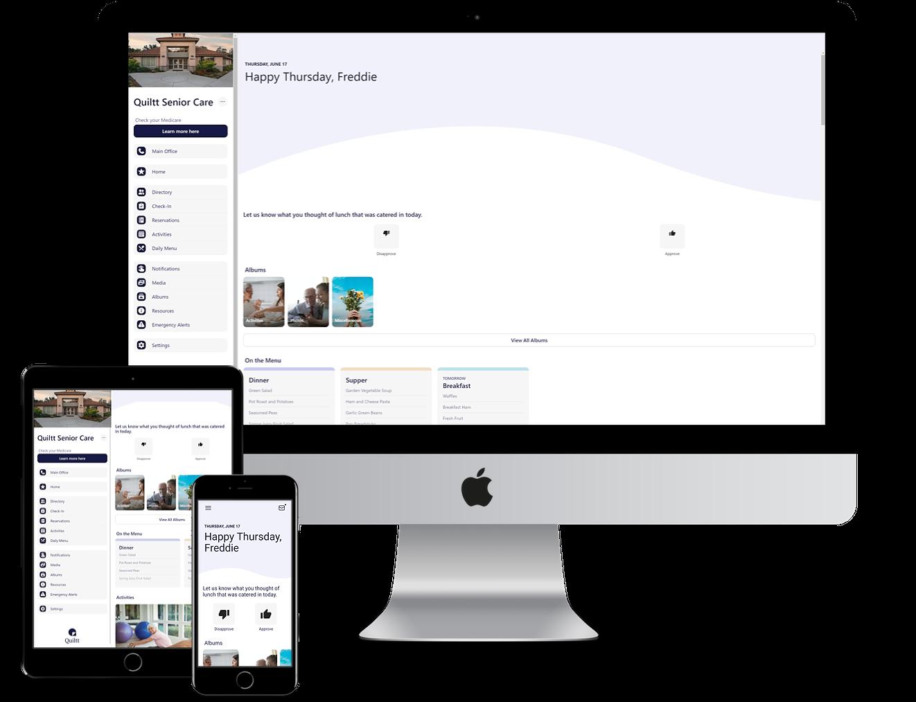 Senior living software for multiple platforms including web, tablets, and mobile