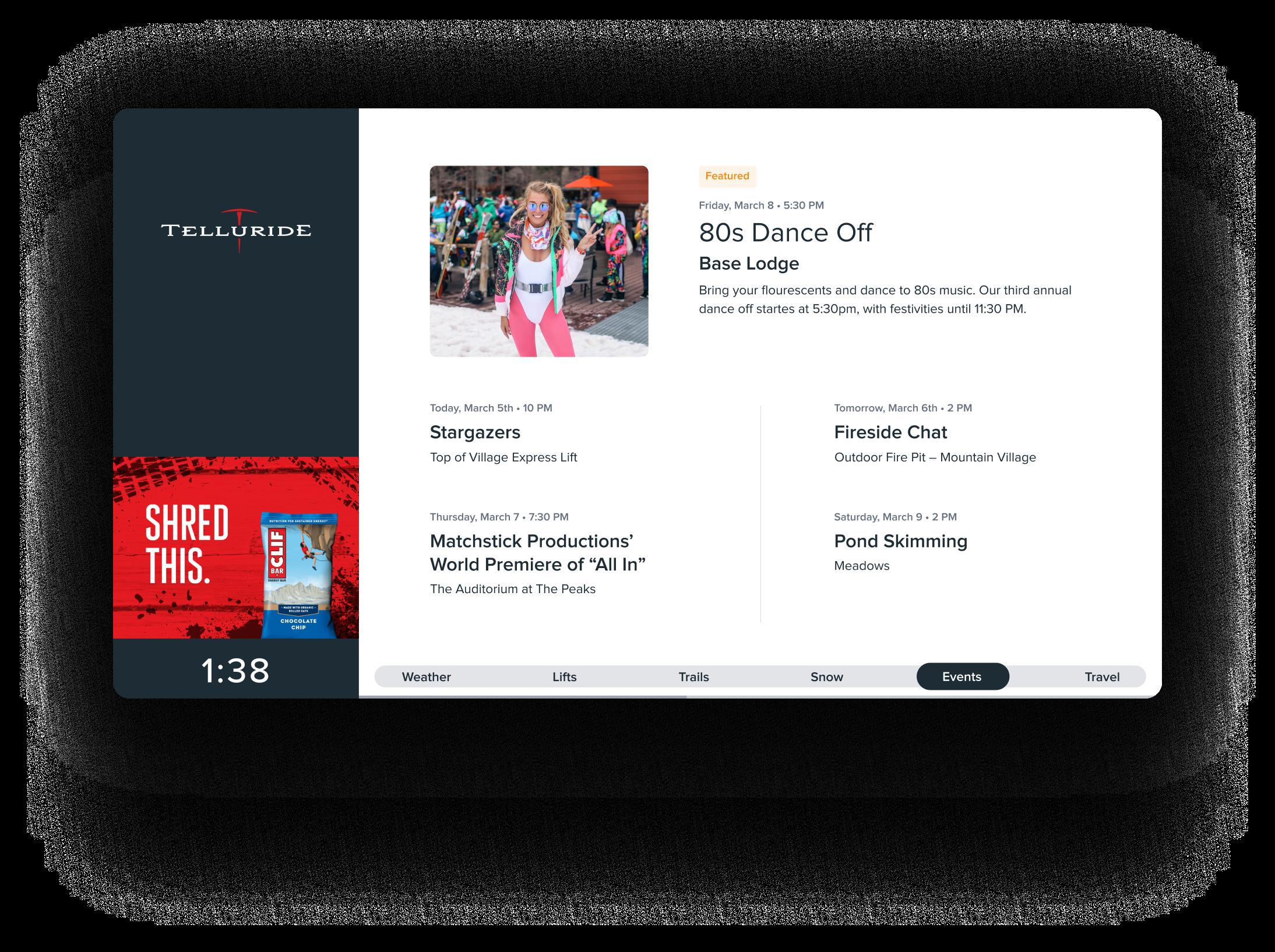 Alpine Media - Telluride display - Events - Clif Bar