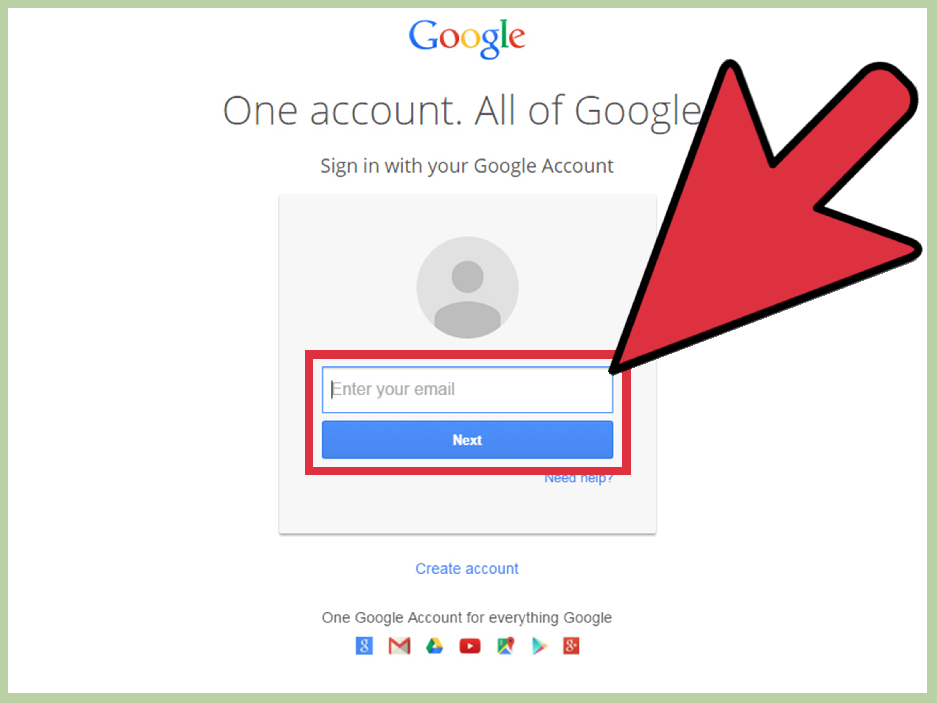 An image directing users on how to login to their Gmail to leave a review.