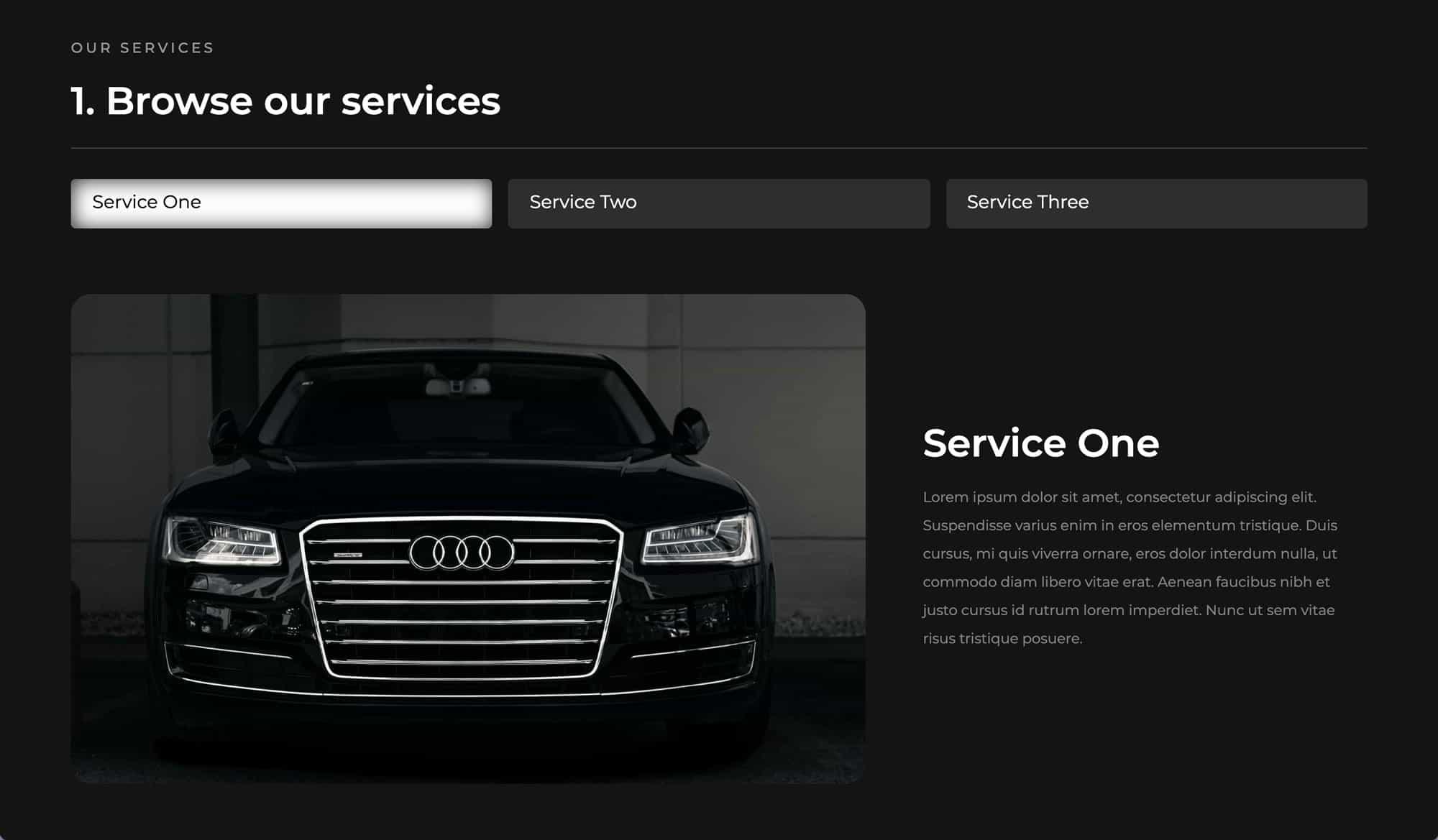A screenshot of the services description section