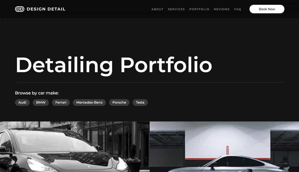 A screenshot of the main portfolio page