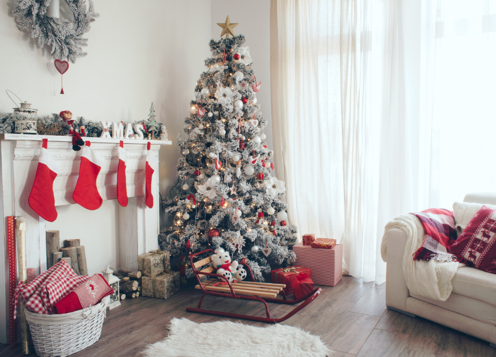 A living room decorated for Christmas.
