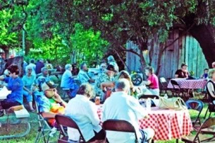People eating at a picnic.