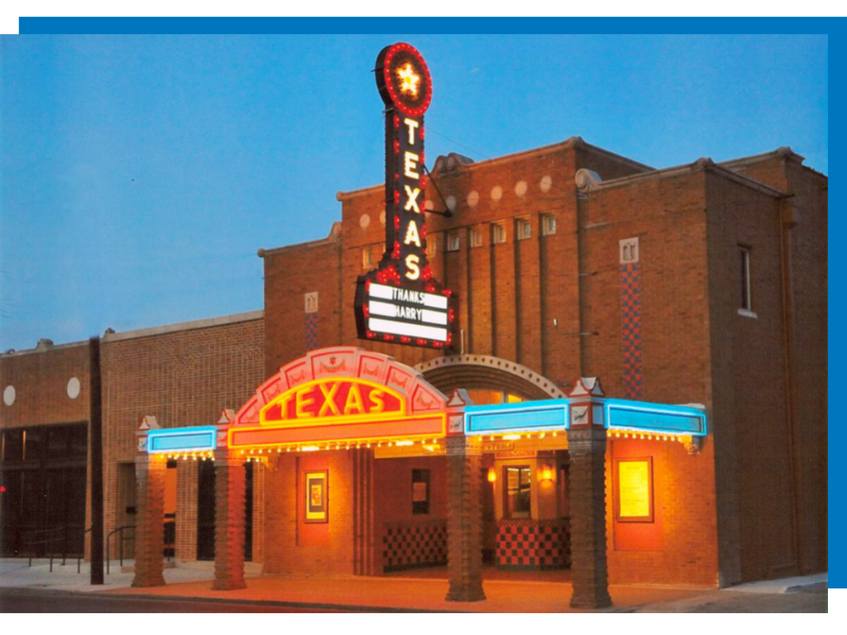 An evening time picture of the Texas Theater.